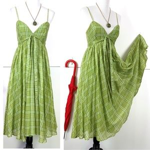 Burberry Green Plaid Checked Cotton Dress Sz 6